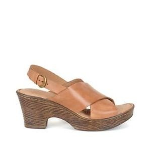 Born Coralyn Tan Wedge Leather Sandal (NWOT)